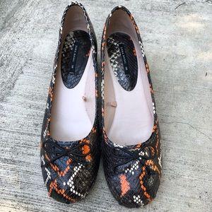 Zara Round Heel Orange Black Pumps Shoes Size 8
